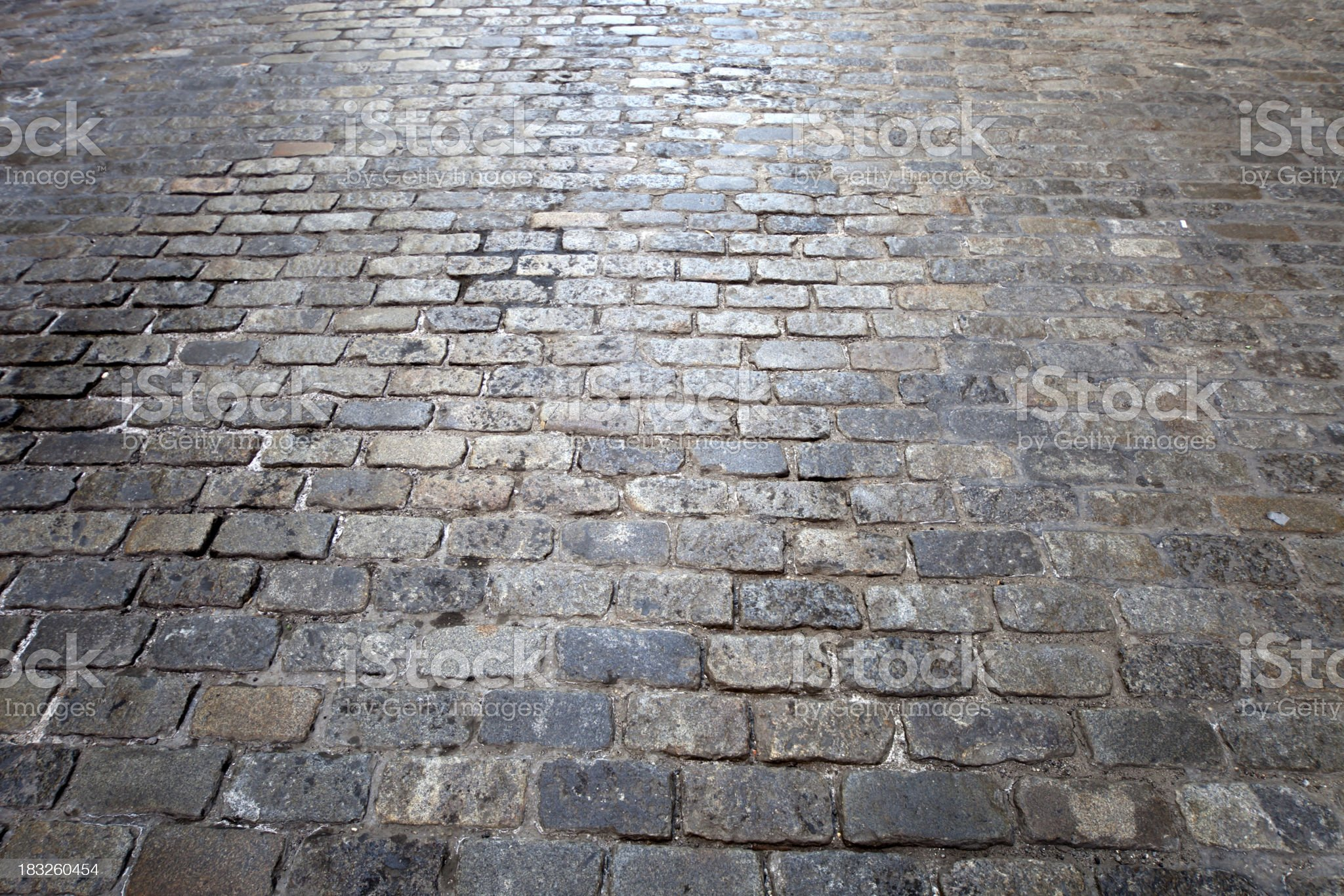 cobbled stone road green street in manhattan new york city royalty-free stock photo