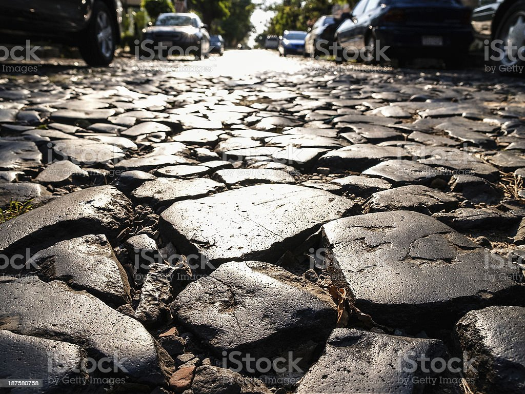 Cobbled street in Asuncion, capital of Paraguay, South America stock photo