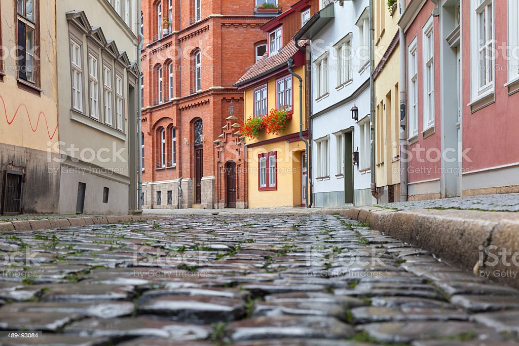 Cobbled street in Erfurt, Germany stock photo