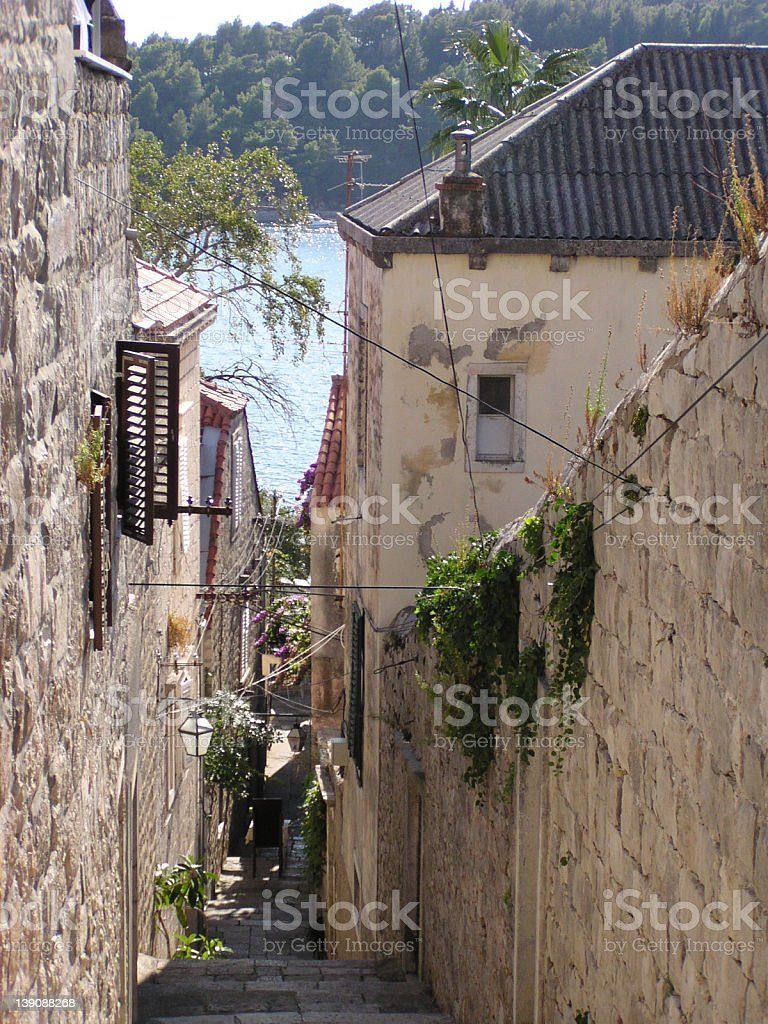 Cobbled Street (Croatia) stock photo
