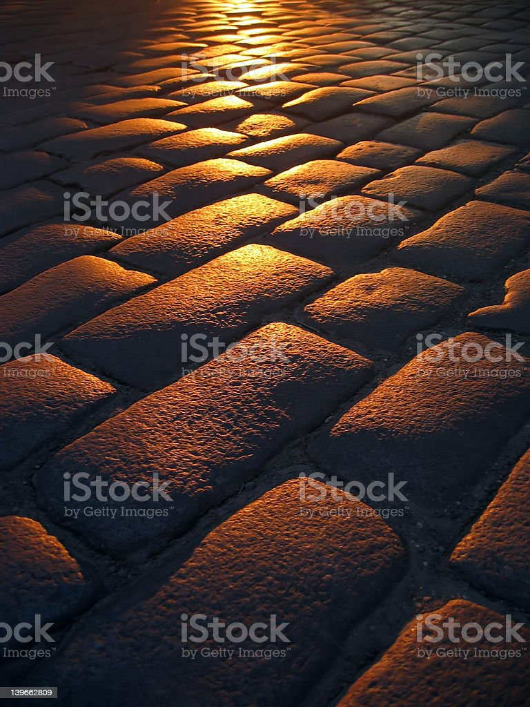 cobbled sunset royalty-free stock photo