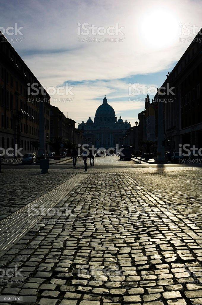 Cobbles of Via della Conciliazione, Vatican City, Rome royalty-free stock photo