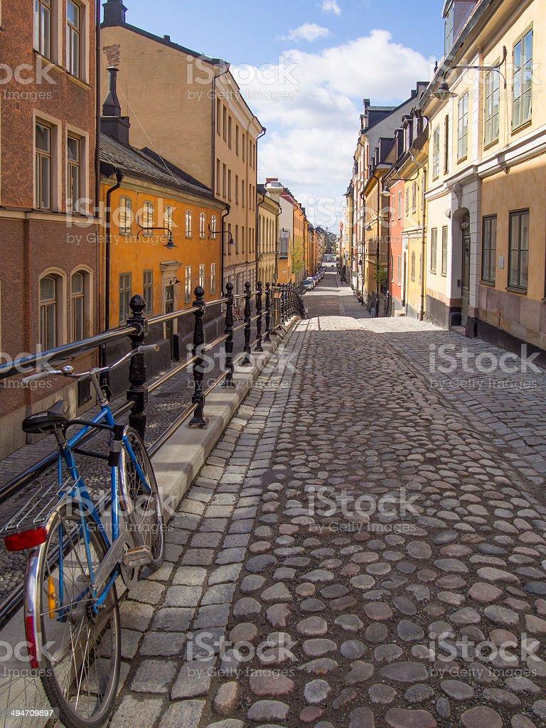 Cobblestone Alley in Stockholm stock photo
