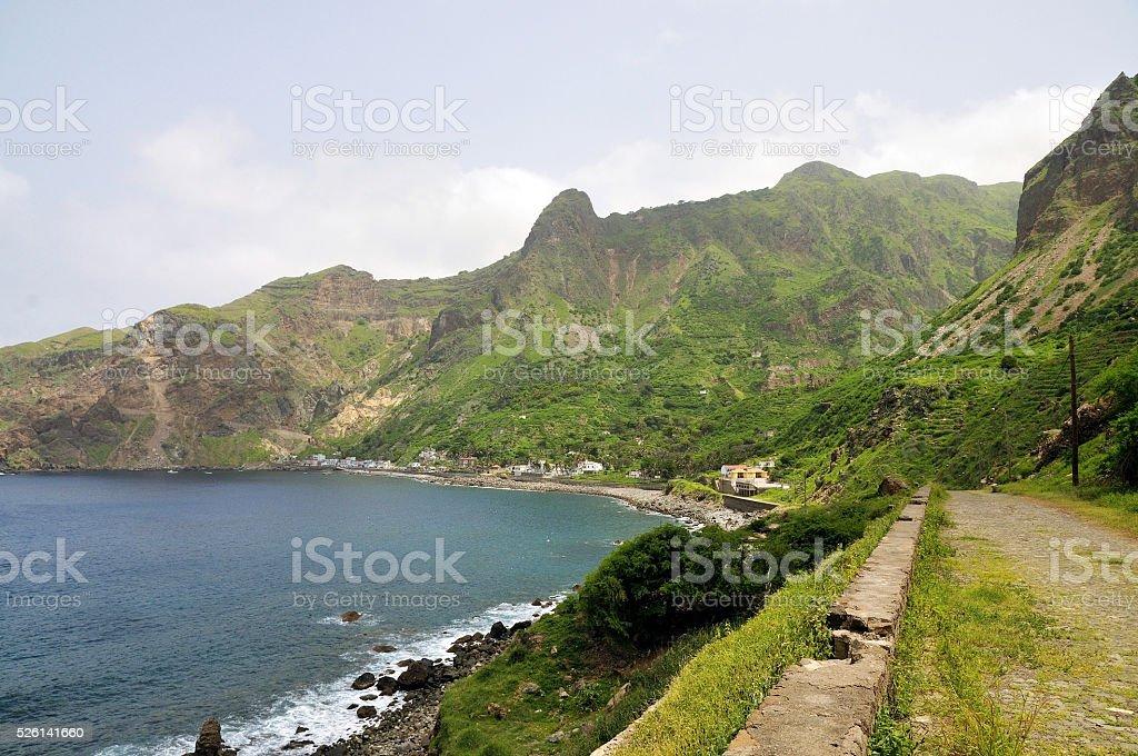 Cobblestone leading to the bay of Faja D'Agua stock photo