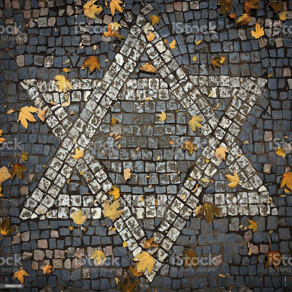 Cobblestone mosaic Star of David royalty-free stock photo