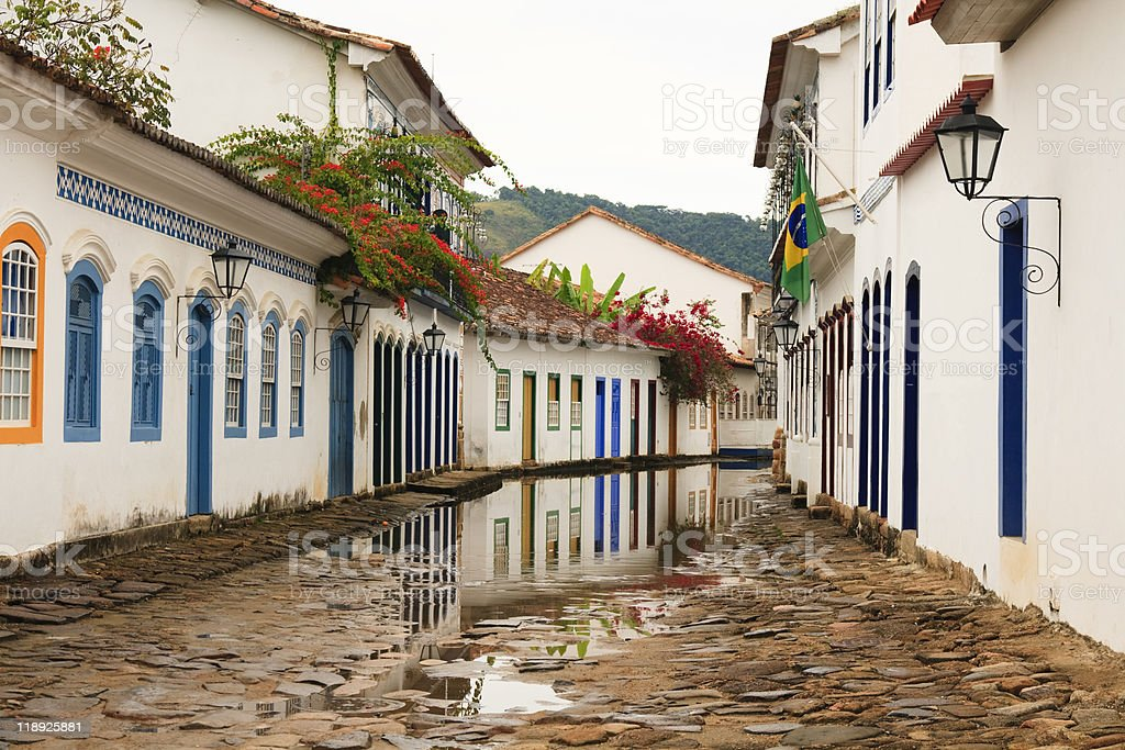 Cobblestone Paraty Street lined with beautiful houses in Rio stock photo