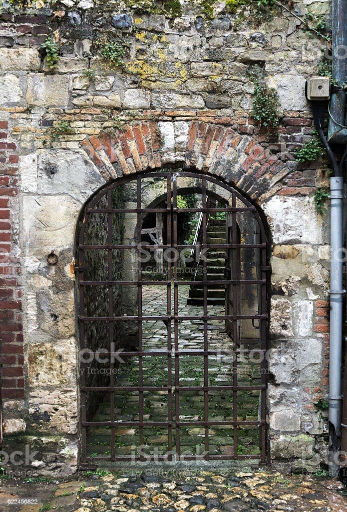 Cobblestone passageway with iron gate. stock photo
