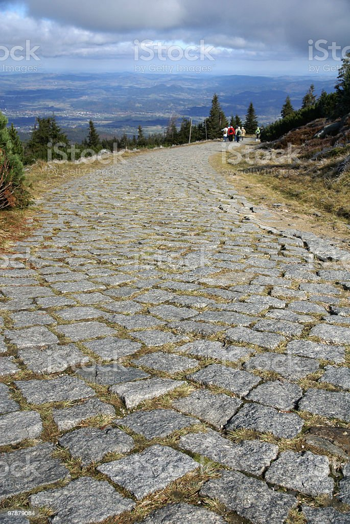 Cobblestone path stock photo