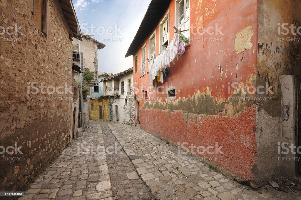 Cobblestone pavement in Antakya, Turkey stock photo