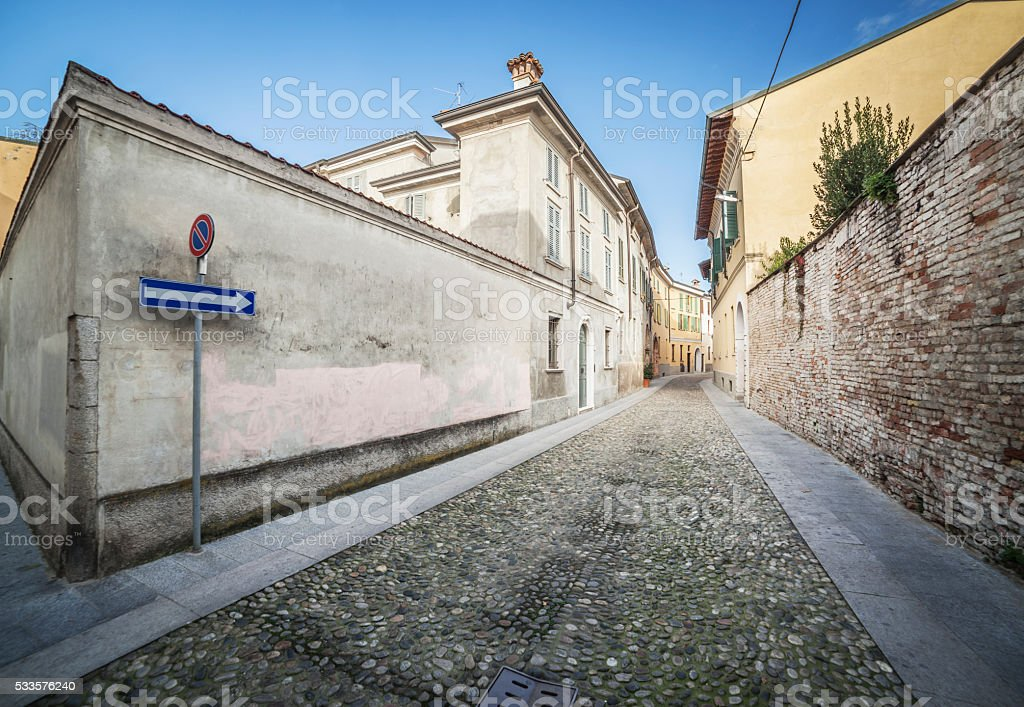 Cobblestone Road In Italian Town stock photo