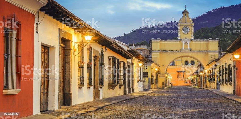 cobblestone street antigua guatemala stock photo