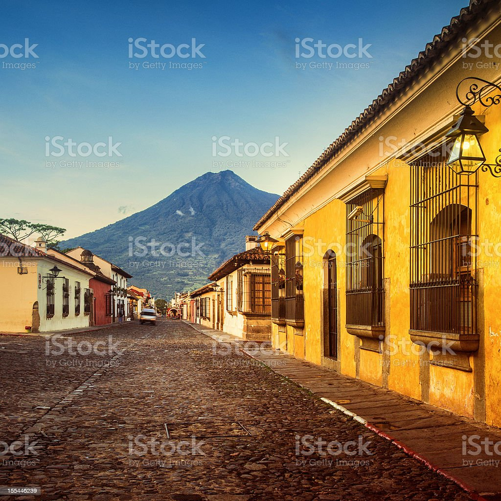 cobblestone street in Antigua Guatemal stock photo
