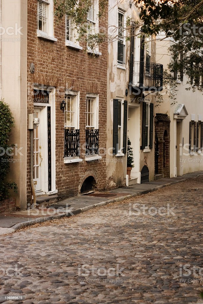 cobblestone street in Charleston royalty-free stock photo