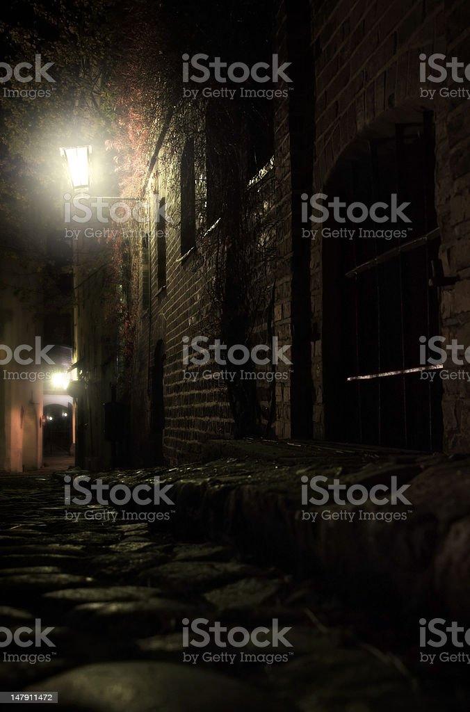 Cobblestone street in Toruń, Poland royalty-free stock photo
