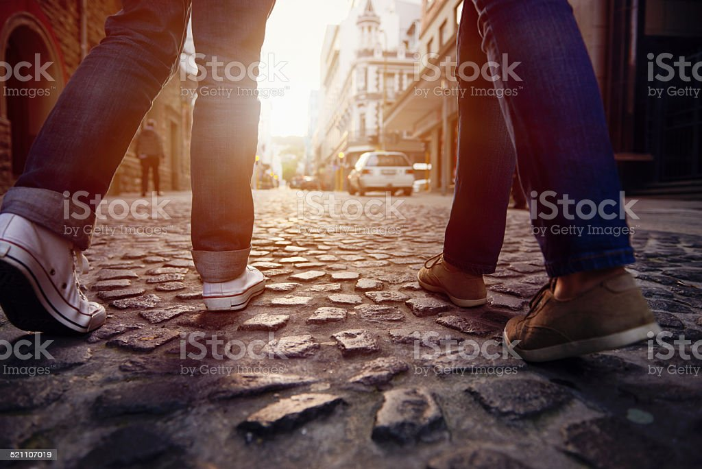 cobblestone street walk stock photo