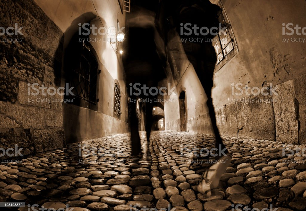 Cobblestone Streets with People Walking royalty-free stock photo