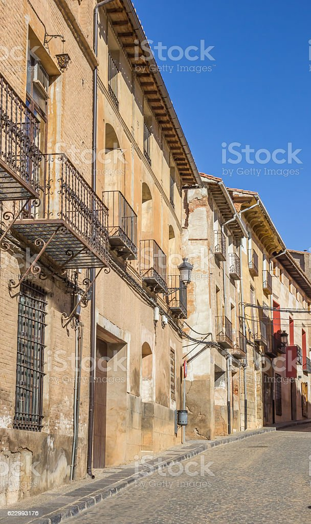 Cobblestoned street and old houses in Daroca stock photo