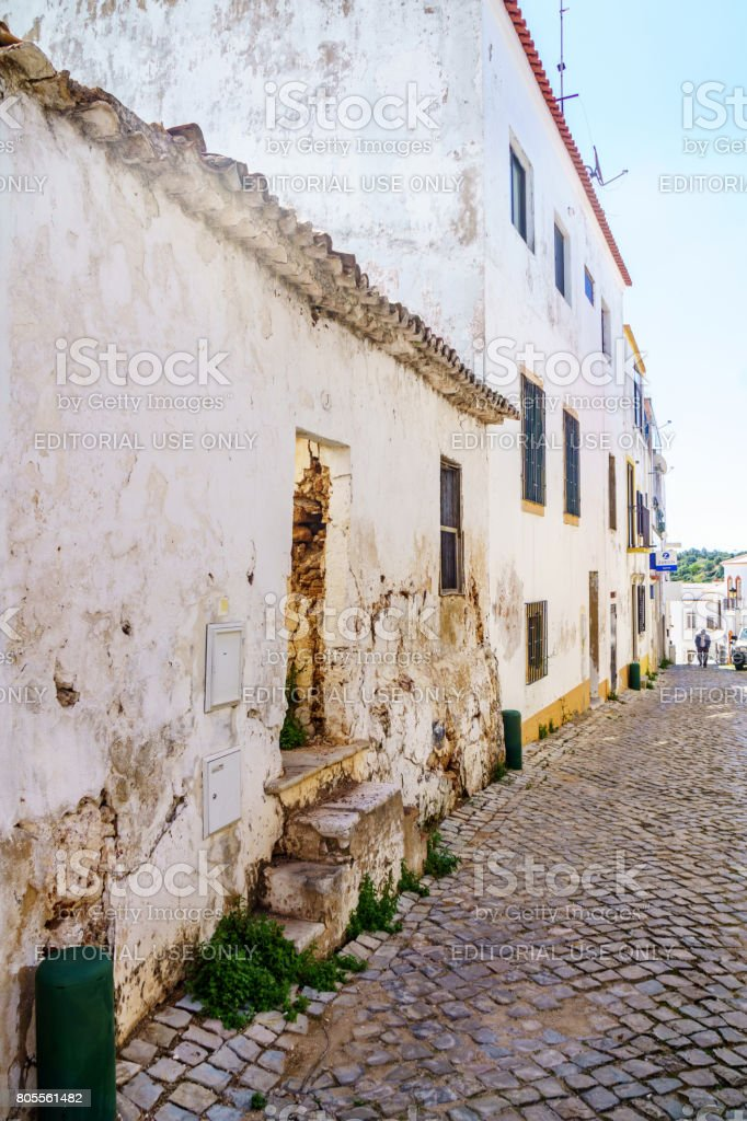 Cobblestoned street in Algarve hill village stock photo