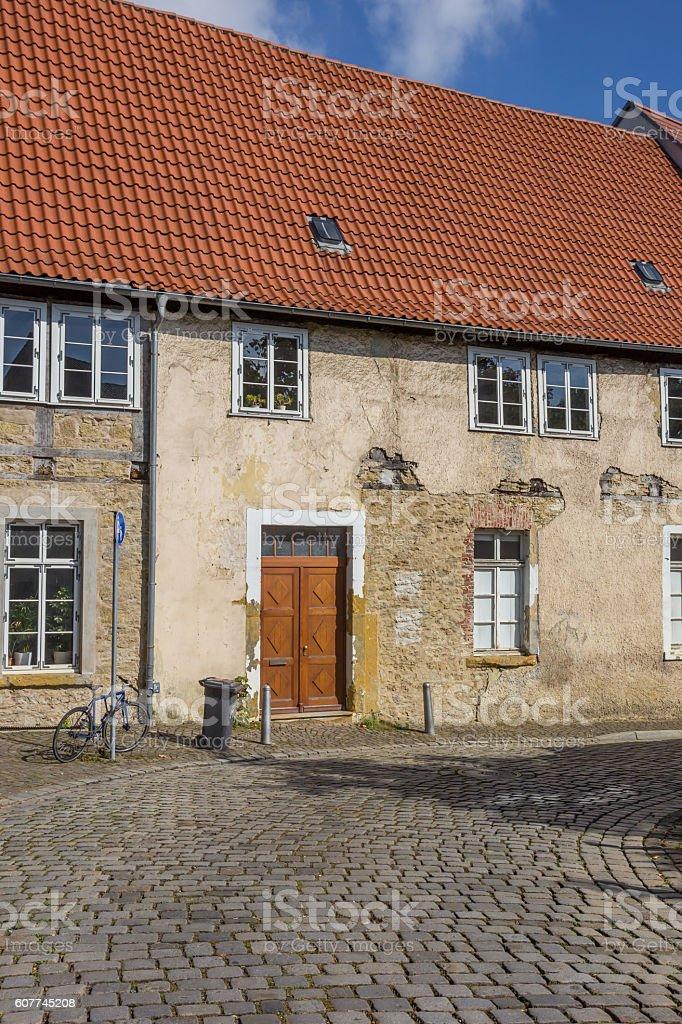 Cobblestoned street in the historical center of Bielefeld stock photo