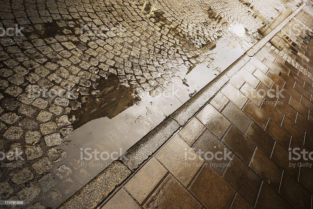 Cobblestones against bright light, fall royalty-free stock photo