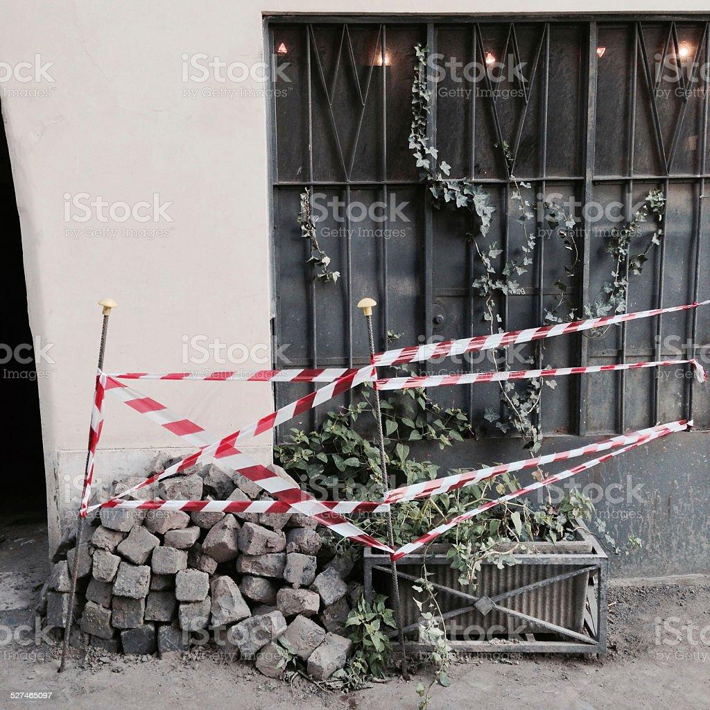 Cobblestones stacked in Rome, Italy stock photo