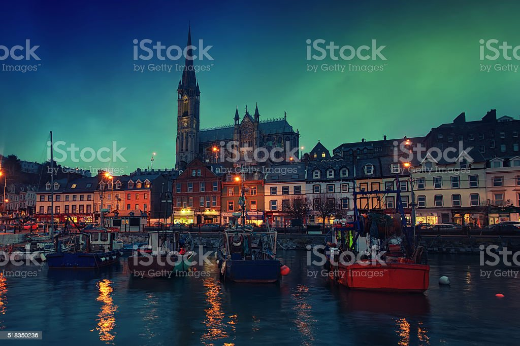 Cobh, Ireland at night stock photo
