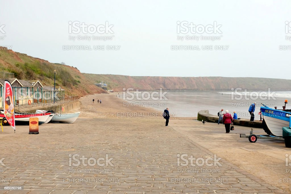 Coble landing, Filey, Yorkshire. stock photo