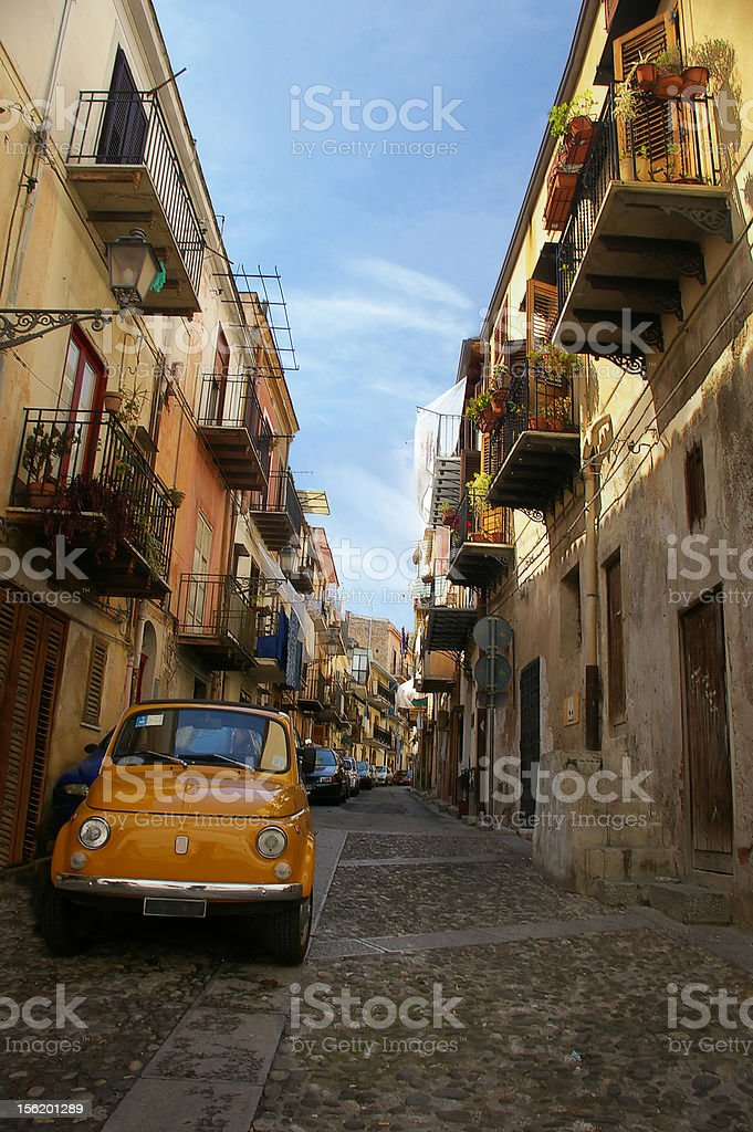Coblestone Street in Palermo royalty-free stock photo