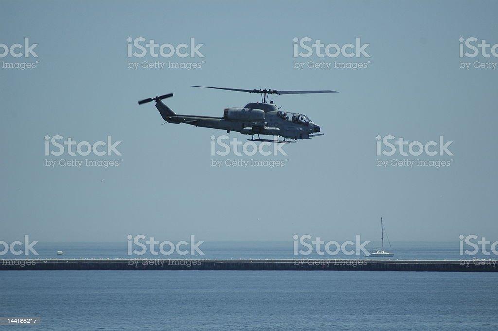 Cobra flying over Lake Michigan stock photo