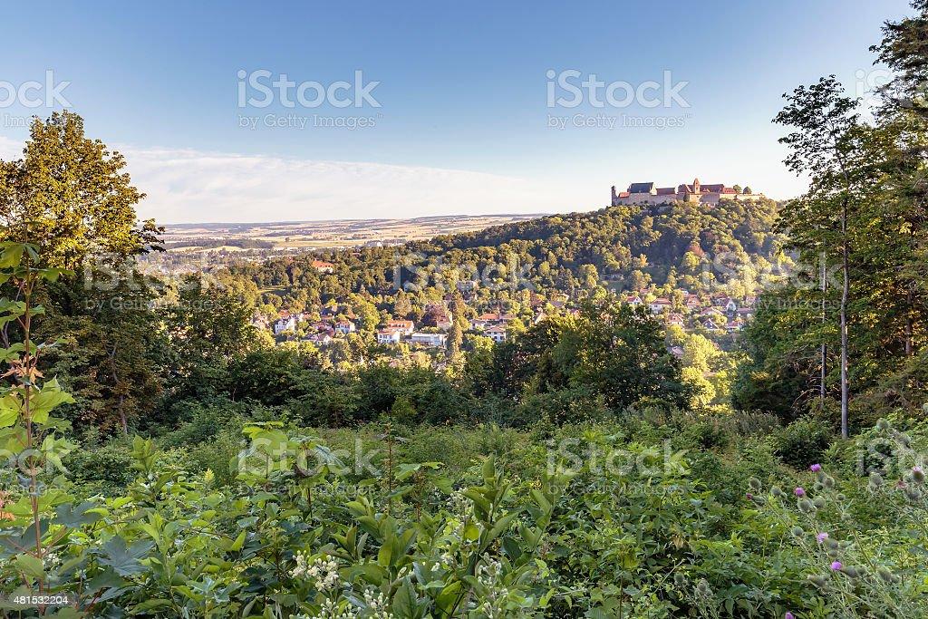 Coburg City Hill Landscape with medieval castle stock photo