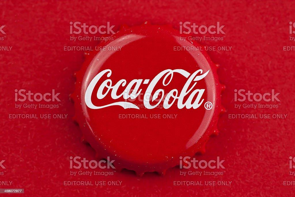 Coca cola bottle cap stock photo