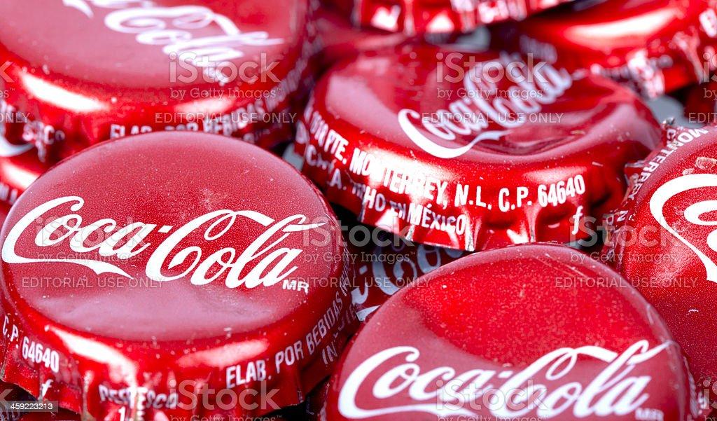 Coca Cola Bottle Caps stock photo