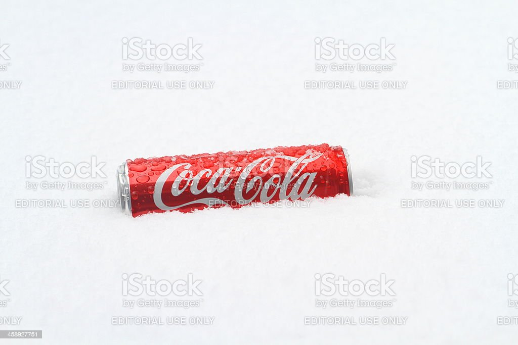 Coca Cola can on snow royalty-free stock photo