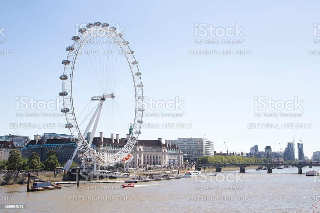 Coca cola London eye with Westminster bridge. stock photo