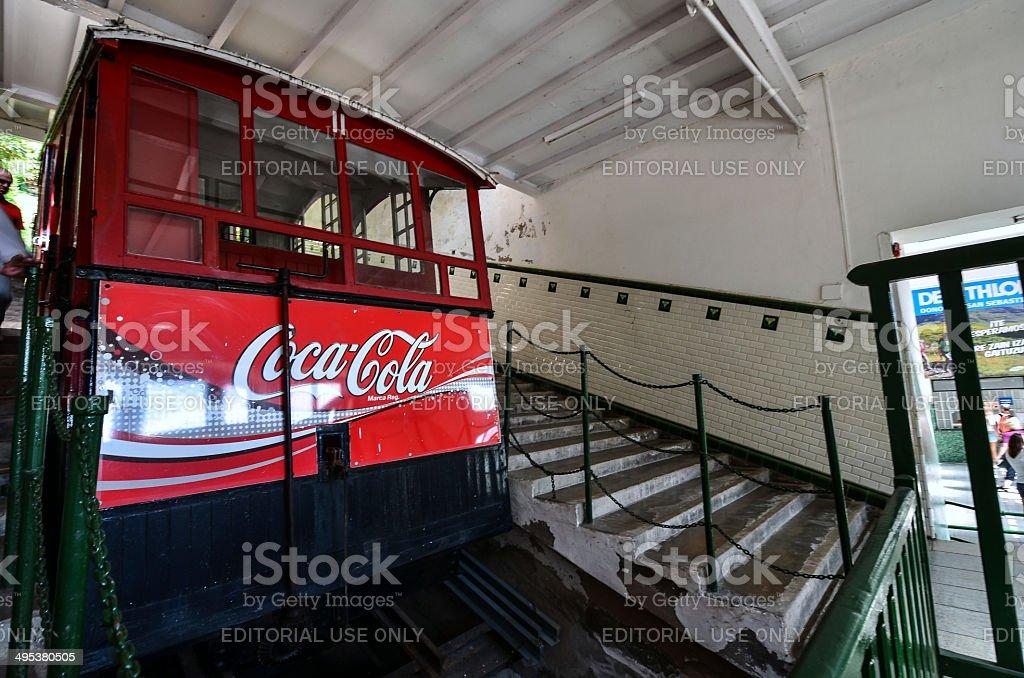 Coca-Cola cable car stock photo