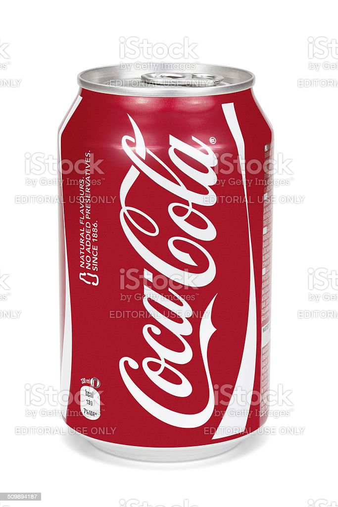 Coca-Cola can isolated on the white background. stock photo