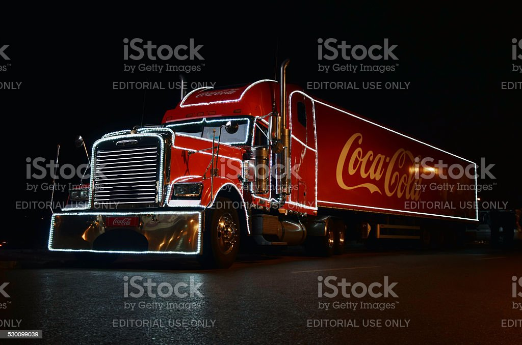 Coca-cola Christmas truck at night stock photo