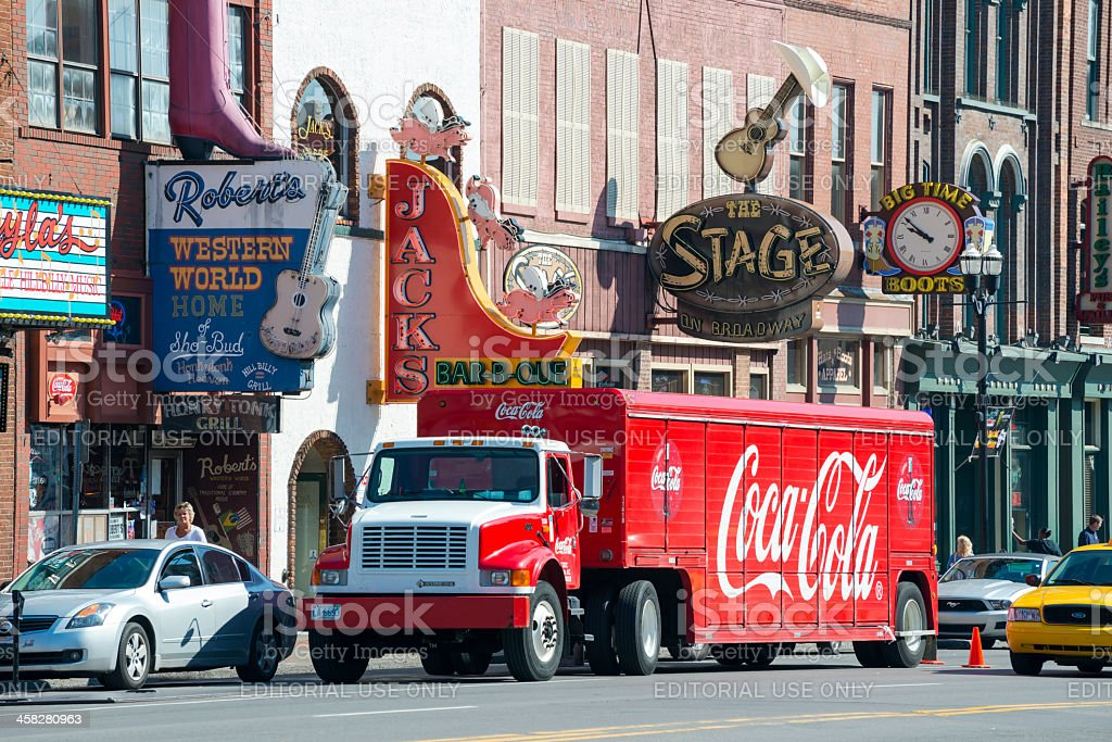 Coca-Cola truck delivering to Nashville honky tonk bars stock photo