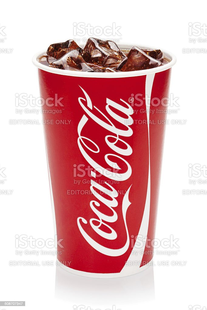 Coca-Cola with ice cubes in original cup. stock photo