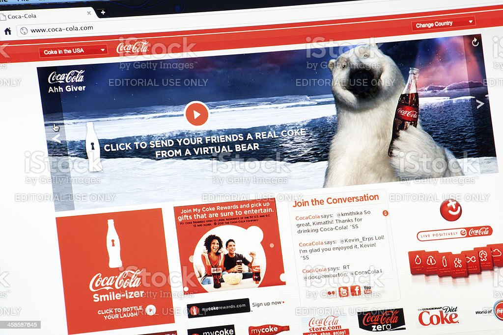 Cocacola.com Web Site Main Page royalty-free stock photo