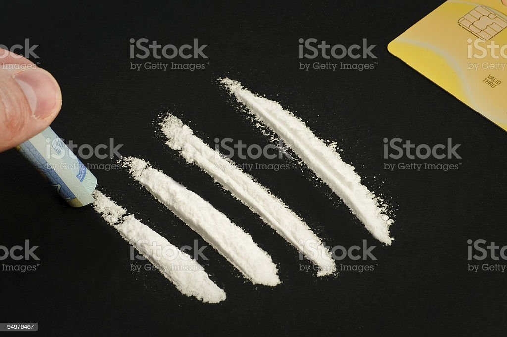 Cocaine and money stock photo