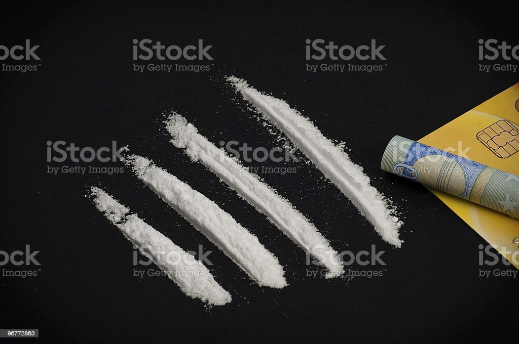Cocaine and money royalty-free stock photo