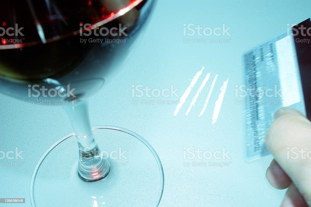 cocaine and wine royalty-free stock photo