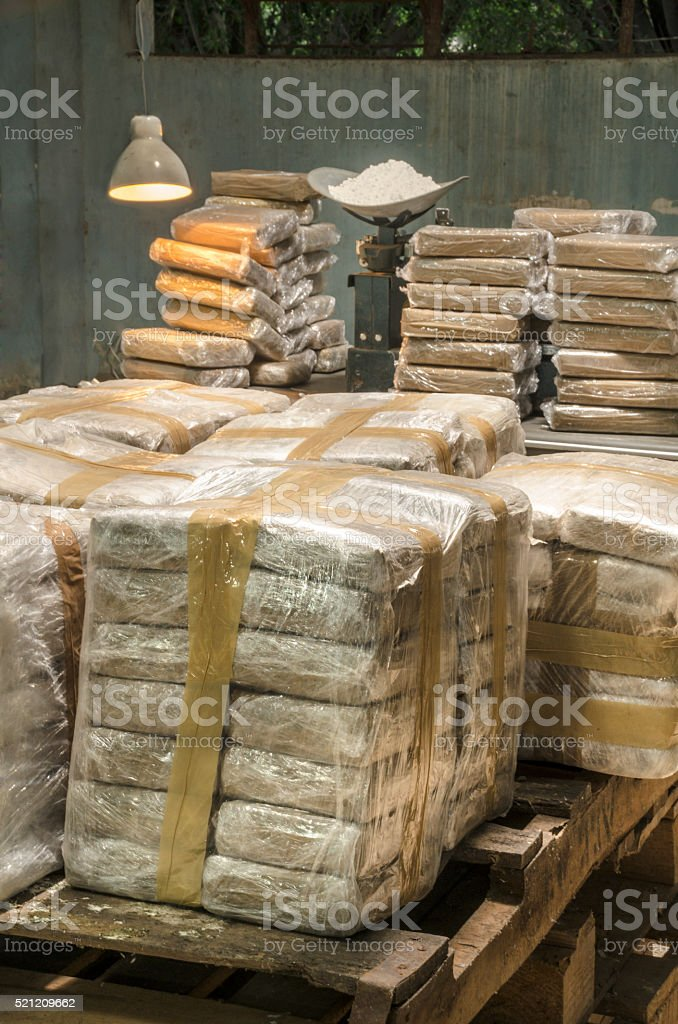Cocaine packets stock photo