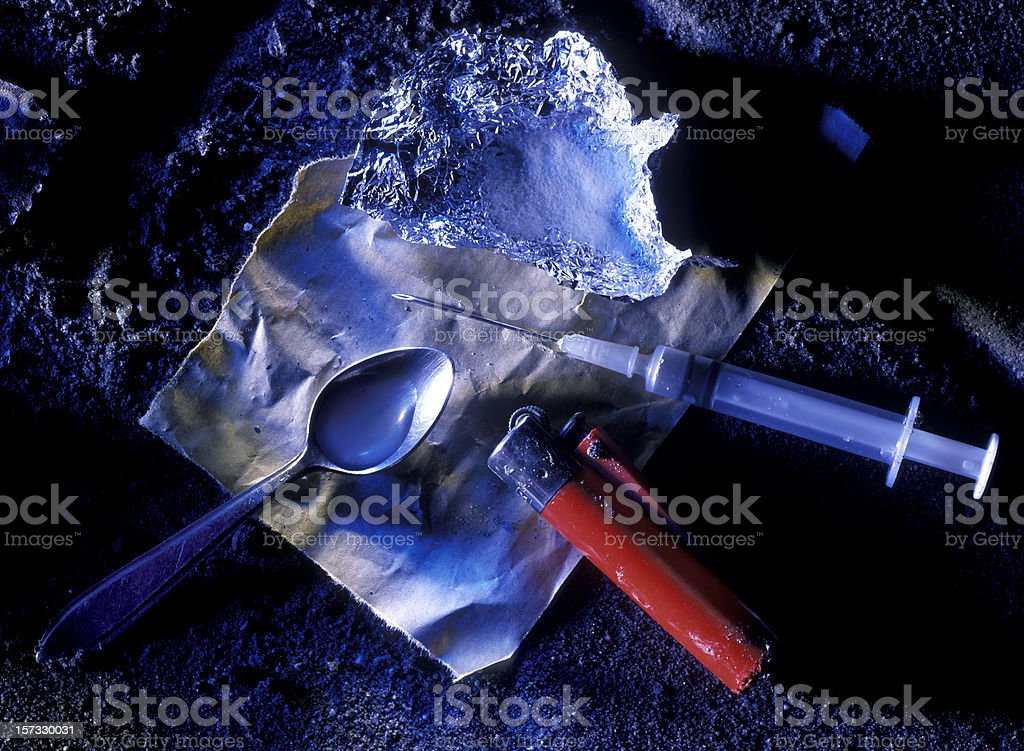cocaine syringe and spoon royalty-free stock photo