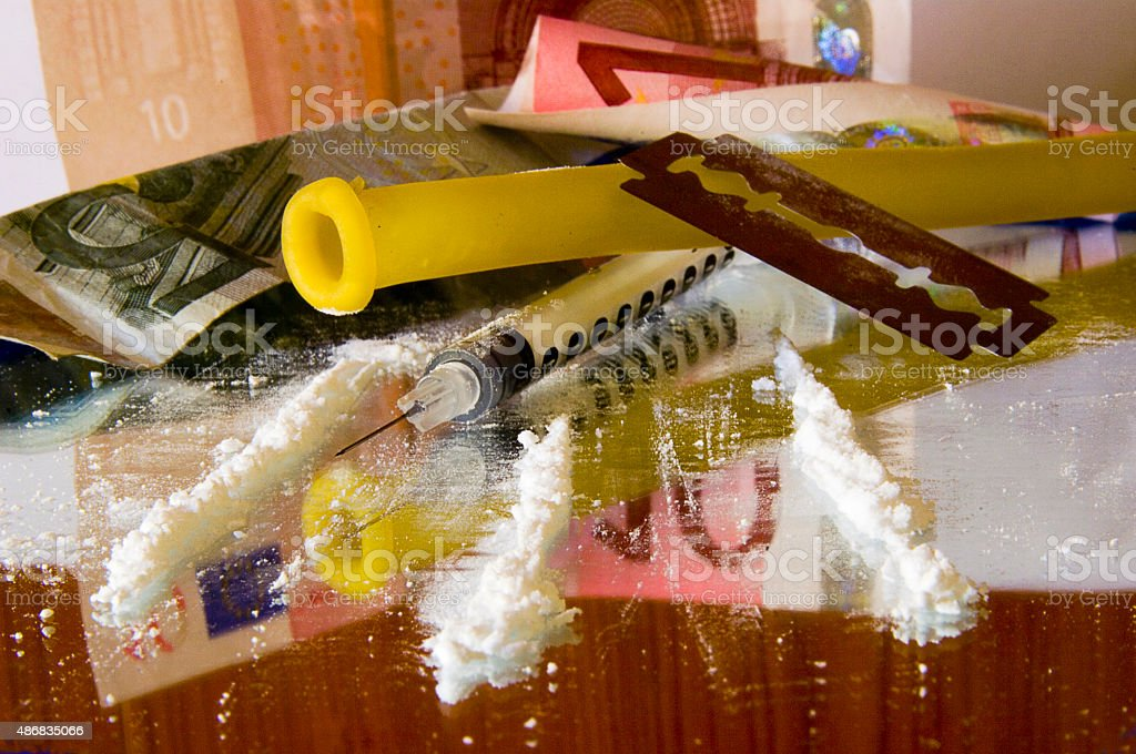 Cocaine: tools for intravenous abuse stock photo