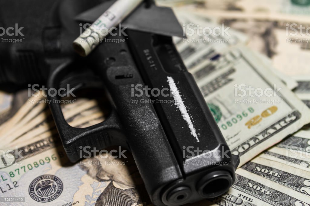 Cocaine use and it's connection to criminal activity stock photo