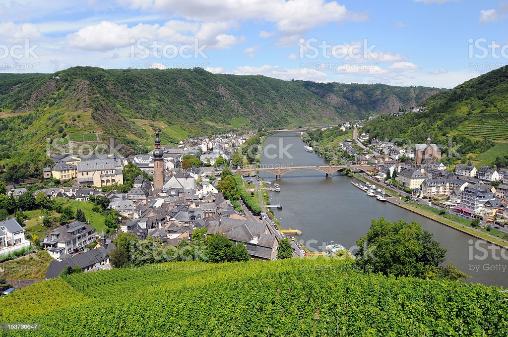 Cochem and Vineyard in mosel valley royalty-free stock photo