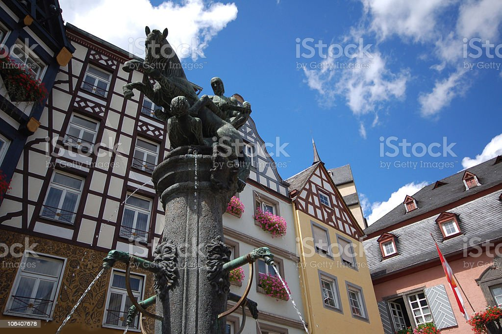 Cochem in mosel valley with typical Half-Timbered stock photo