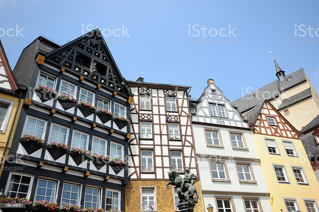 Cochem in mosel valley with typical Half-Timbered (Germany) stock photo